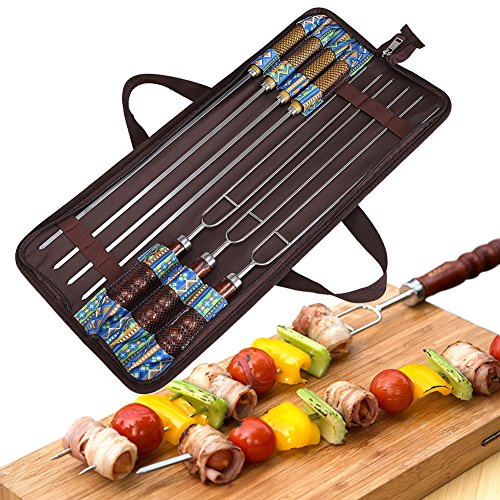 Barbecue Forks  and BBQ Skewers, Stainless Steel with Heat Resistant Wooden Handle