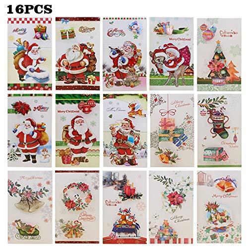 16 tarjetas de felicitación de Navidad de papel kraft tradicional 3D