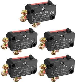 ZealMax 5 UNIDS OV-15-1B5 15A 125 / 250V AC SPDT NO NC Interruptor de límite tipo micro tipo botón a presión con terminales de tornillo