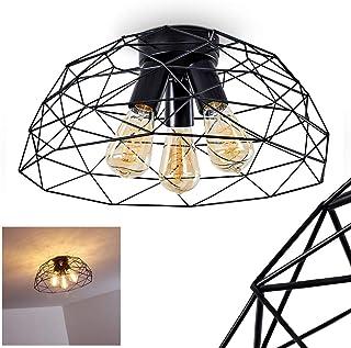 Lámpara de techo redonda Hajom, metal negro, 3 luzes, casquillo de las bombillas E27, máx. 25 vatios, adecuada para bombillas LED. La pantalla de la lámpara crea un efecto luminoso en el techo.