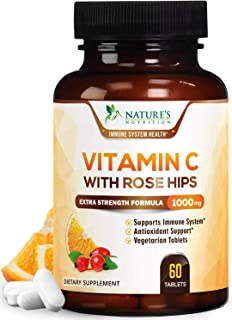 Vitamin C Supplement, Extra Strength Immune Support - 1000mg Vitamin C Supplement with Rose Hips, Made in America, Great A...