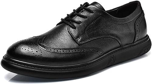 Dundun-chaussures 2018 Mode Hommes Sculpturale Confort Dentelle Ox Massage en Cuir Brogue Affaires Oxford Chaussures Décontractées (Couleur   Noir, Taille   42 EU)