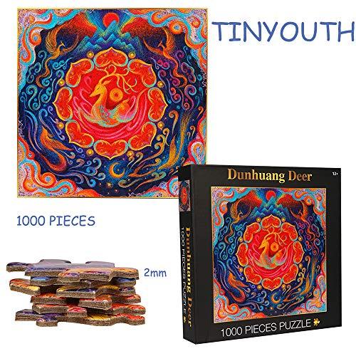 TINYOUTH 1000 Teile Hirsch Puzzles für Erwachsene, Quadrat Blatz Puzzle, 61CM/24.02in 2mm Karton Puzzle - Familienpuzzle Verringerter Druck Schwieriges Puzzle Rahmen Puzzle für Kinder Erwachsene