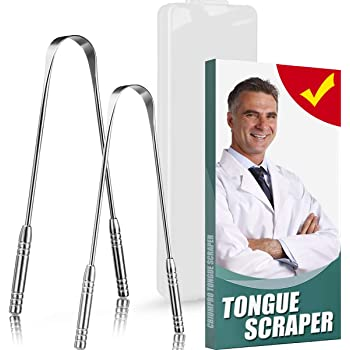 TONGUE SCRAPER, 2 Pack 100% Useful Professional Tongue Scraper Cleaner Reusable Stainless Steel Tongue Scrapers with Dual Carved Handle, Narrow Blade, Nice Case for Adults, Kids [ 2020 Version ]