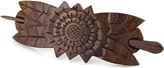 Evolatree Natural Hair Barrettes for Women and Men - Handmade Wood Barrette Hair Pin - Zodiac Sun Fleur - 4.5