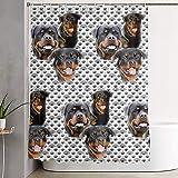 Searster$ Shower Curtain Polyester Duschvorhang für Badezimmerduschen Badewannen,Dekor Vorhang Rottweiler & Disteln Duschvorhang enthalten 12 Haken,72X72 In