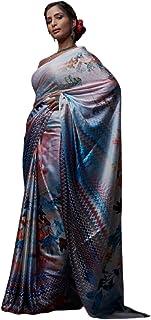 Multi Indian Designer Digital Print Sari Soft Satin Crepe Shiny Formal Cocktail Saree Blouse 6078