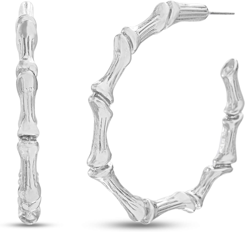 Steve Madden 80s Fashion Chunky Bamboo Hoop Earrings for Women