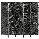 vidaXL Biombo Separador 5 Paneles Plegables Divisor Ambientes Decorativo Metal Jacinto Agua Paravientos Protección Privacidad Jardín Terraza Negro