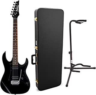 Ibanez GRX20Z 6-String Electric Guitar (Black Night) Bundle with Tripod Guitar Stand (Black) and Electric Guitar Case