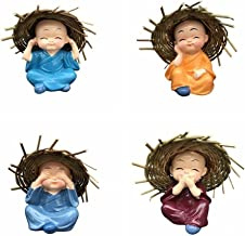 Small Buddha Statue Monk with Straw Hat Resin Figurine Crafts Home Decorative 4pcs