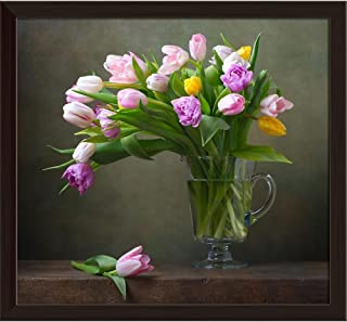 Pitaara Box Still Life with Colorful Tulips D3 Canvas Painting Dark Brown Frame 26.1 X 24Inch