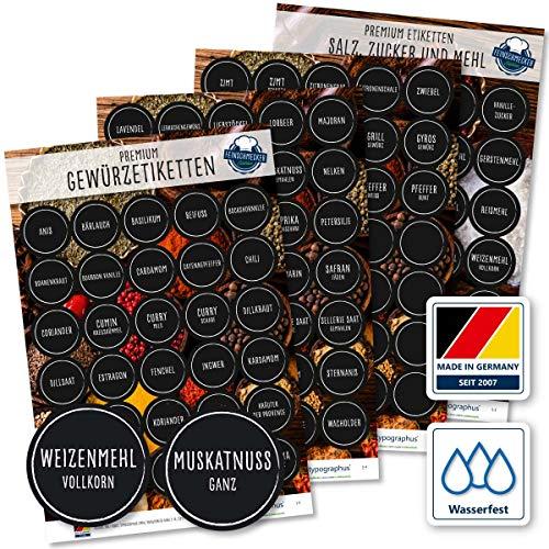 130 Stk. Gewürzetiketten Rund - Feinschmecker Edition 2019 | Gewürzaufkleber, Mehl Salz & Zucker wasserfest für Gläser, Dosen und Regale (weiß/schwarz)