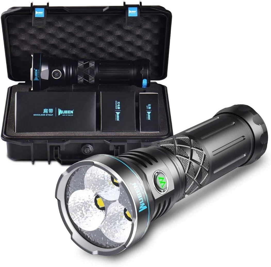 WUBEN A9 12000 L/úmenes S/úper Brillante Linterna LED,3 USB C Recargable 6 Modos de funcionamiento dual a prueba de agua Linterna Multifuncional con bater/ía 10200mAh CREE XHP70.2 LED