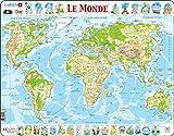 Larsen K4 La Carte Physique du Monde, édition Français, Puzzle Cadre avec de 80 pièces