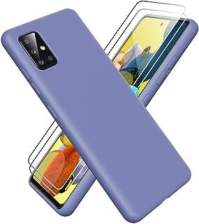 Oududianzi - Fodral till Samsung Galaxy A51 5G + 2 skärmskydd, flytande silikongel gummi stöttåligt fodral, 3 lager strukt...