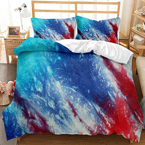 LWtiao-x Bedding Quilt Cover, Artistic Marble Pattern, Zipper and Pillowcase, Family Quilt Cover, Double 200x200cm (a1,220x240cm+80x80cmx2)