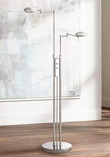 Journey Modern Pharmacy Floor Lamp LED Adjustable Swing Arm Satin Nickel Dimmer Switch for Living Room Reading Bedroom - Possini Euro Design