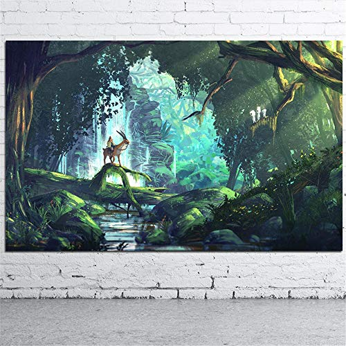 Danjiao Hayao Miyazaki Prinzessin Mononoke Anime Movie Art Leinwand Poster Und Drucke Wohnkultur Wandbilder Für Wohnzimmer Schlafzimmer Wohnzimmer 60x90cm