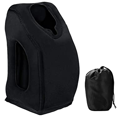 Saibit Inflatable Travel Pillow, Ergonomic Comfortable and Protable Flight Sleep Inflatable Pillow for Airplanes and Trains Travel, Office Napping, Camping etc. (Black)