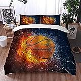 ETDWA Set copripiumino, Basketball on Fire Ice Sport acquatici Oro Arancione, Set copripiumino in Microfibra 220 x 240 cm con 2 federa 50 x 80 cm