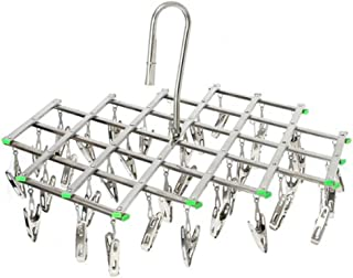 Wuyue Hua Stainless Steel 35 Clips Drying Rack, Space Saver Hanger,Smart Hook Design Avoid Blowing Away, Drying Pegs for Socks, Towels, Underwear, Scarves, Shirt or Small Size Clothes