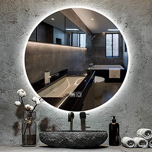 ZCZZ Espejo de baño LED Redondo Iluminado con Interruptor de Control táctil, 3 Colores de Luces y Espejo retroiluminado de Pared Regulable, IP65 a Prueba de Agua