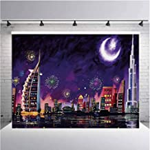 Landscape Photography Background Cloth Illustration of Eid Celebration at Night in Dubai Skyscrapers and Firework Print for Photography,Video and Televison 7ftx5ft Purple