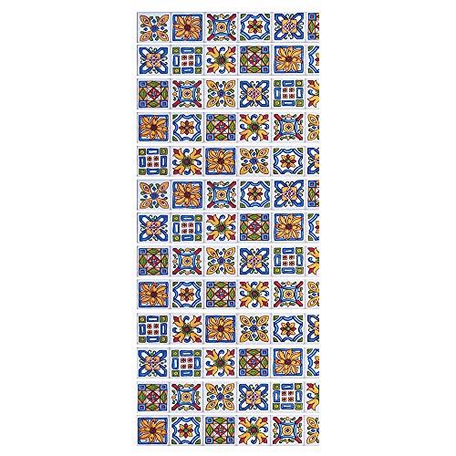 Pegatinas Adhesivos Autoadhesivos Para Escaleras Cocina Piso Baño Decoración Vintage Multicolor Multi-Estilo Hogar Impermeable Extraíble Etiqueta De Pared 18 * 100Cm * 13Pcs- Pegatinas Para Azulejos