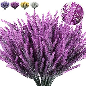 Artificial Outdoor Flowers, 8pcs Artificial Flowers Flocked Plastic Lavender Bundle Wedding Bridle Bouquet,Spring Decor,Lifelike Natural Fake Plant to Brighten Up Your Home and Wedding Decor(Fuchsia)