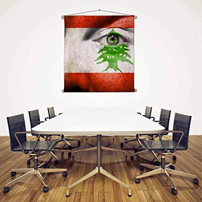 ArtzFolio Lebanon Flag Painted On Face Canvas Fabric Painting Tapestry Scroll Art Hanging 24.7inch x 24.7inch (62.7cms x 62.7cms)