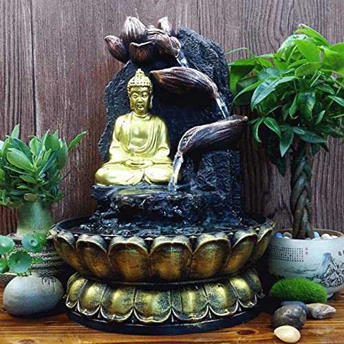 Cascading Buddha Fountain,Tabletop Buddha Statue Fountain Indoor Water Feature Water Fountain Decor,for The Office Family-Grey 11.4inch