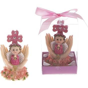 Set of 12 Pink Baby Angel Praying with Lamb Favors Pink Lunaura Religious Keepsake