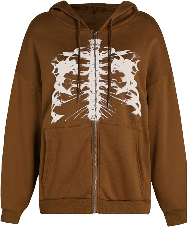 Women Y2K Skeleton Graphic Hooded Sweatshirt Halloween Full Zip Up Hoodie Jacket Coat With Pockets