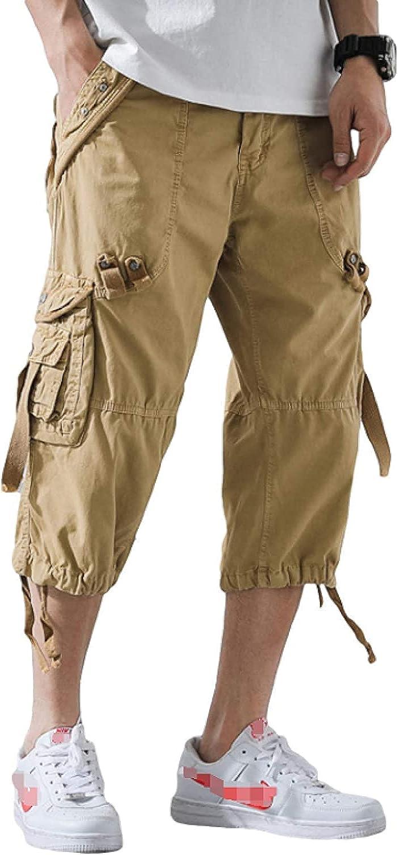 GHJX Men's Plus Size Cargo Shorts Fashion Solid Color Casual Multi-Pocket Stitching Khaki