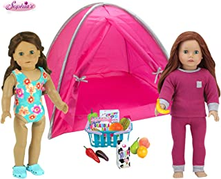Sophia's 18 Piece Summer Camp Set for 18 in Dolls | Pink Tent, Grocery Basket of Food, Doll Bathing Suit and Pajamas
