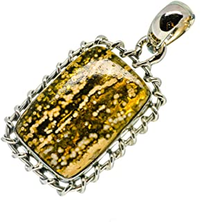 FREEFORM OCEAN JASPER Pendant Hand Made Set in Sterling Silver Sterling Silver Chain-Beautiful Tiny Orbs Throughout the Stone  43.9x27.8 mm