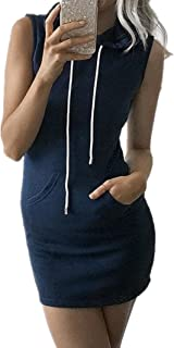 Sorrica Women Casual Sleeveless Cotton Sweat Hoodie Dress
