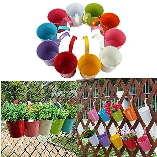 10 stuks bloempot Capalta bloem balkonpot hangpot bloempotten om op te hangen balkon tuin potten muur planten metalen bak bloemenhouder