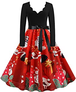 Modaworld Vestiti di Natale Maniche Lunga Abito Natale Vestito da Donna Stampa Natalizio Midi Abito Elegante Natale Party ...