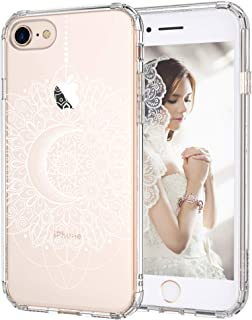 iPhone 7 Case, iPhone 8 Clear Case, MOSNOVO White Moon Henna Mandala Lace Pattern Printed Clear Design Plastic Back Case with Soft TPU Bumper Protective Cover for iPhone 7 (2016) / iPhone 8 (2017)