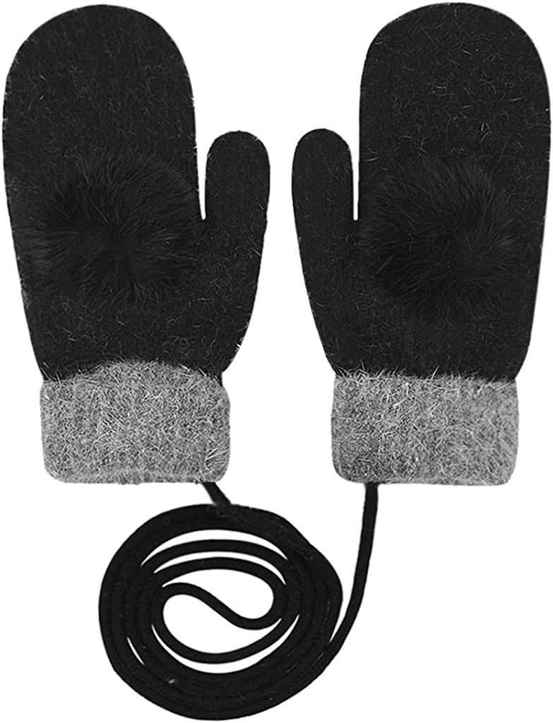 Women's Winter Warm Mittens Soft Thick Wool Knit Gloves with String Fur Pom