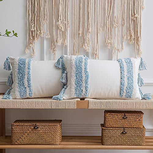 Boho - Juego de 2 fundas de almohada rectangulares de algodón 100 % rectangular con borlas para sofá cama, fundas de cojín para decoración del hogar, casa de campo, 30,5 x 50,8 cm, color azul
