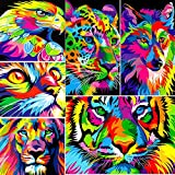 XPCARE 6 Pack 5d Diamond Painting Kits Full Drill Rhinestone Animal Diamond Pictures for Home Wall Decor(Canvas 12 X 16 Inch)