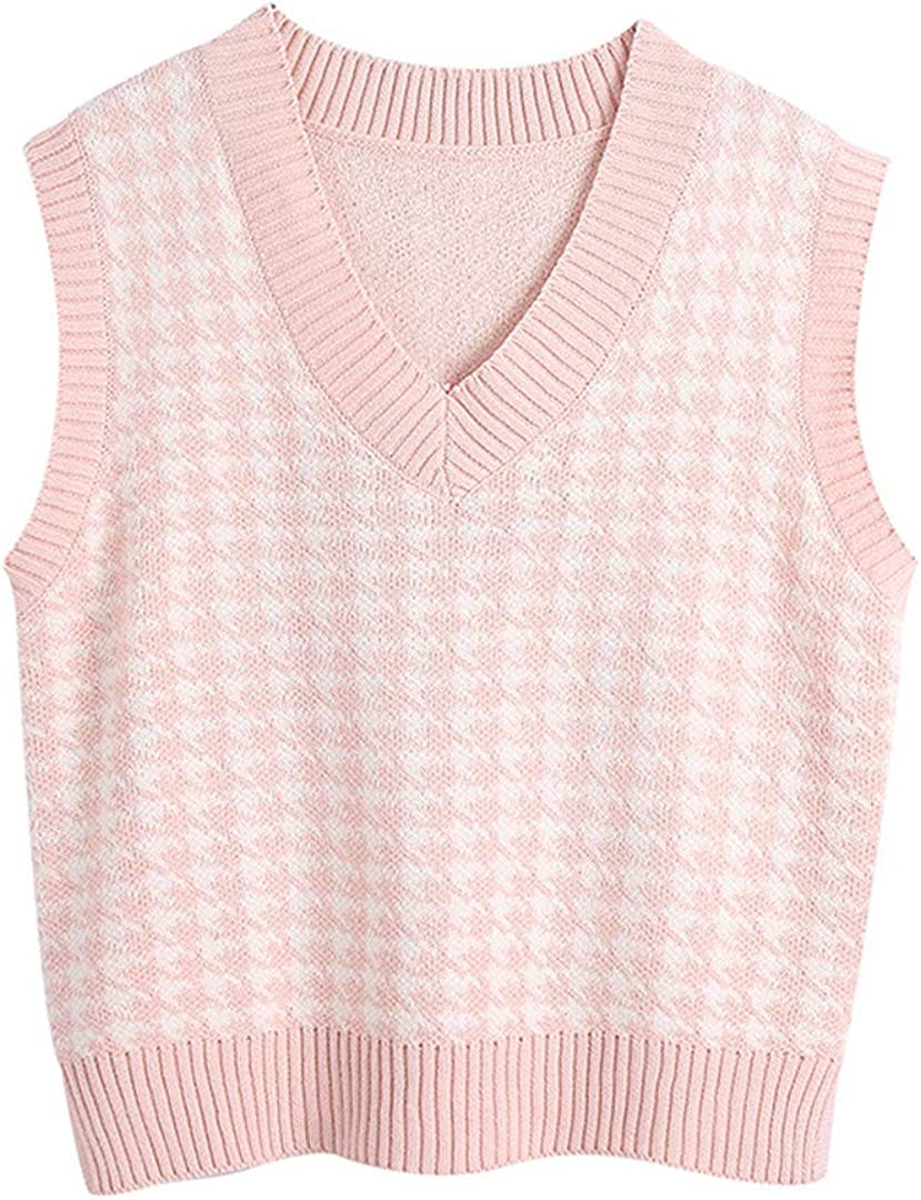 Women Oversized Knitted Vest Sweaters Vintagesleeveless Side Vents Female Waistcoat Tops