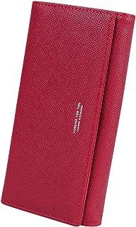 Women's Long Bifold Credit Card Holder Zipper Pocket Clutch Wallet Purse, Wine Red