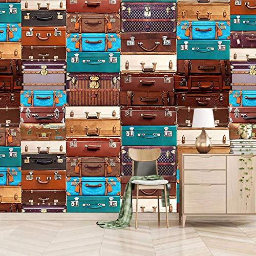 Msrahves papier peint 3d trompe l'oeil moderne Rétro valise élégant Décoration Murale XXL Poster Tableaux Muraux Photo Trompe l'oeil Panorama Effet Salon Appartement Photo d'art