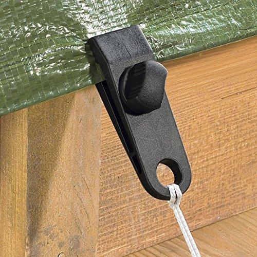 TRI Planen-Klipps, 4 Stück, Planenhalter Planenclips Befestigungsclips Planenspanner Abdeckungen ohne Ösen oder Haken 8,5 x 2,5 cm