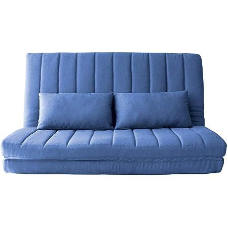 アイリスプラザ(IRIS PLAZA) ソファベッド ブルー 120×63~180×9~60cm 2人掛け 3WAY LSB-002