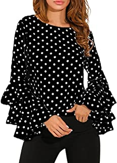Women's Fashion Casual Loose Classic Polka Dot Shirt Ladies Bell Sleeve Blouse Tops